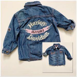 Harley Davidson Blue Denim Baby Girls Top Sz 18m